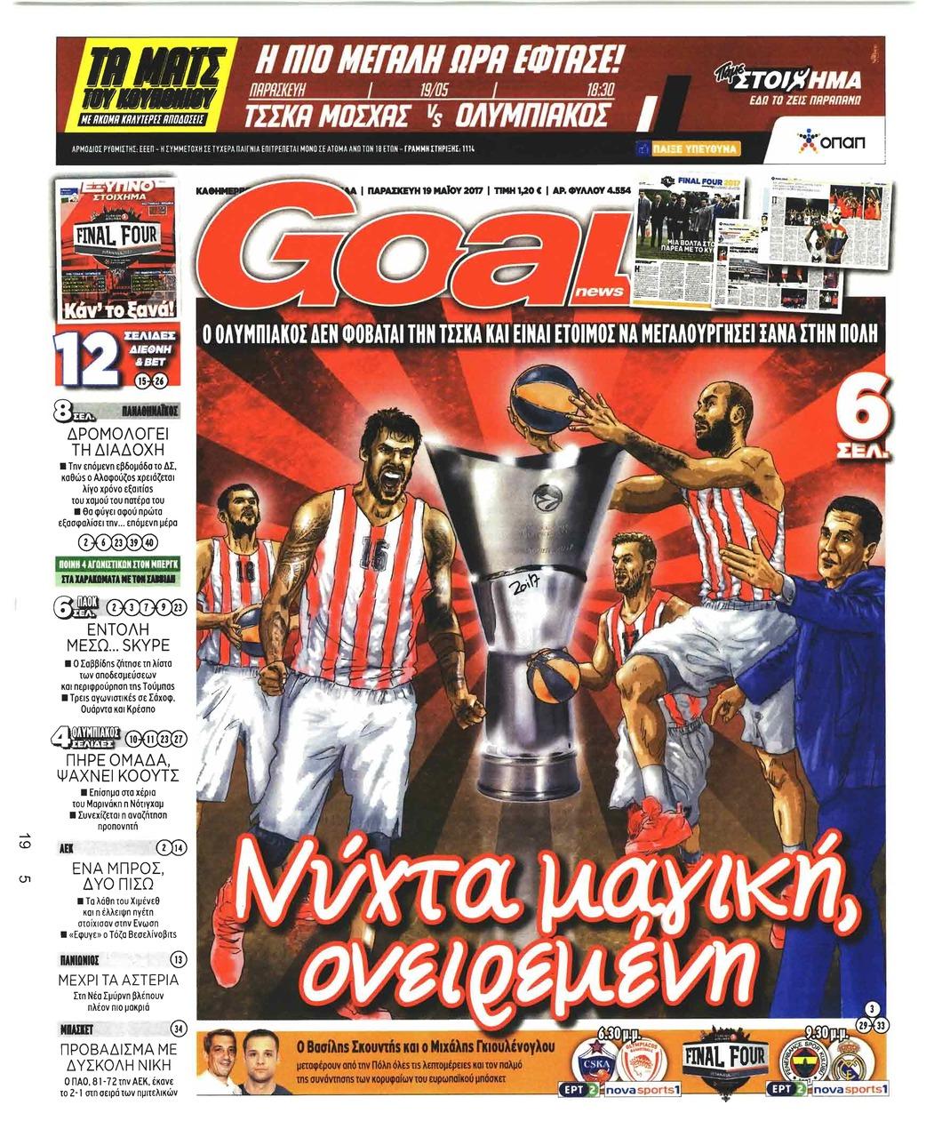 Πρωτοσέλιδο εφημερίδας GoalNews
