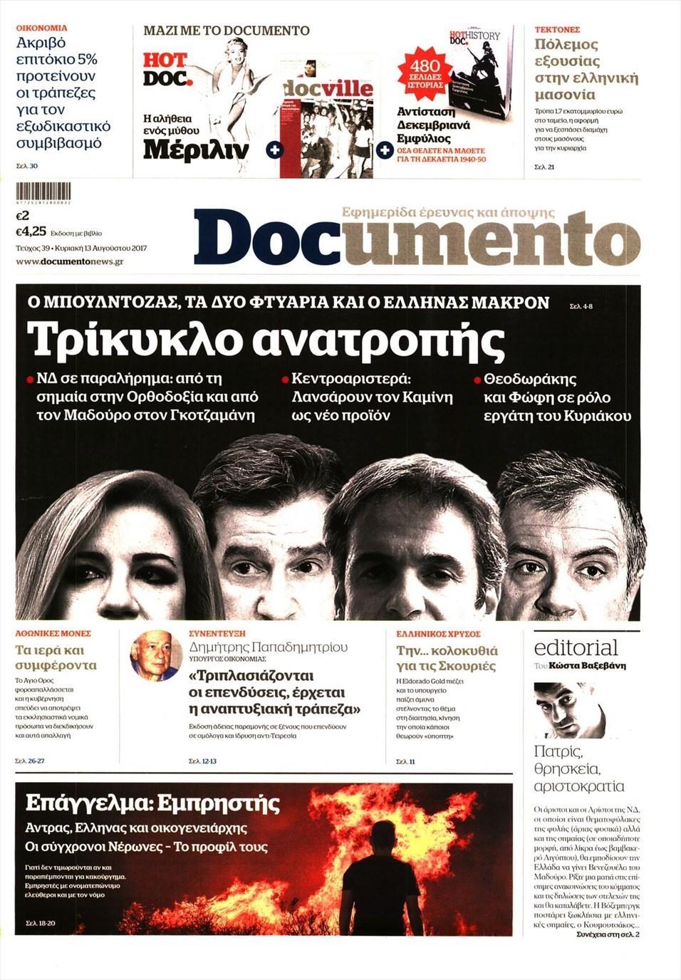 Πρωτοσέλιδο εφημερίδας Documento