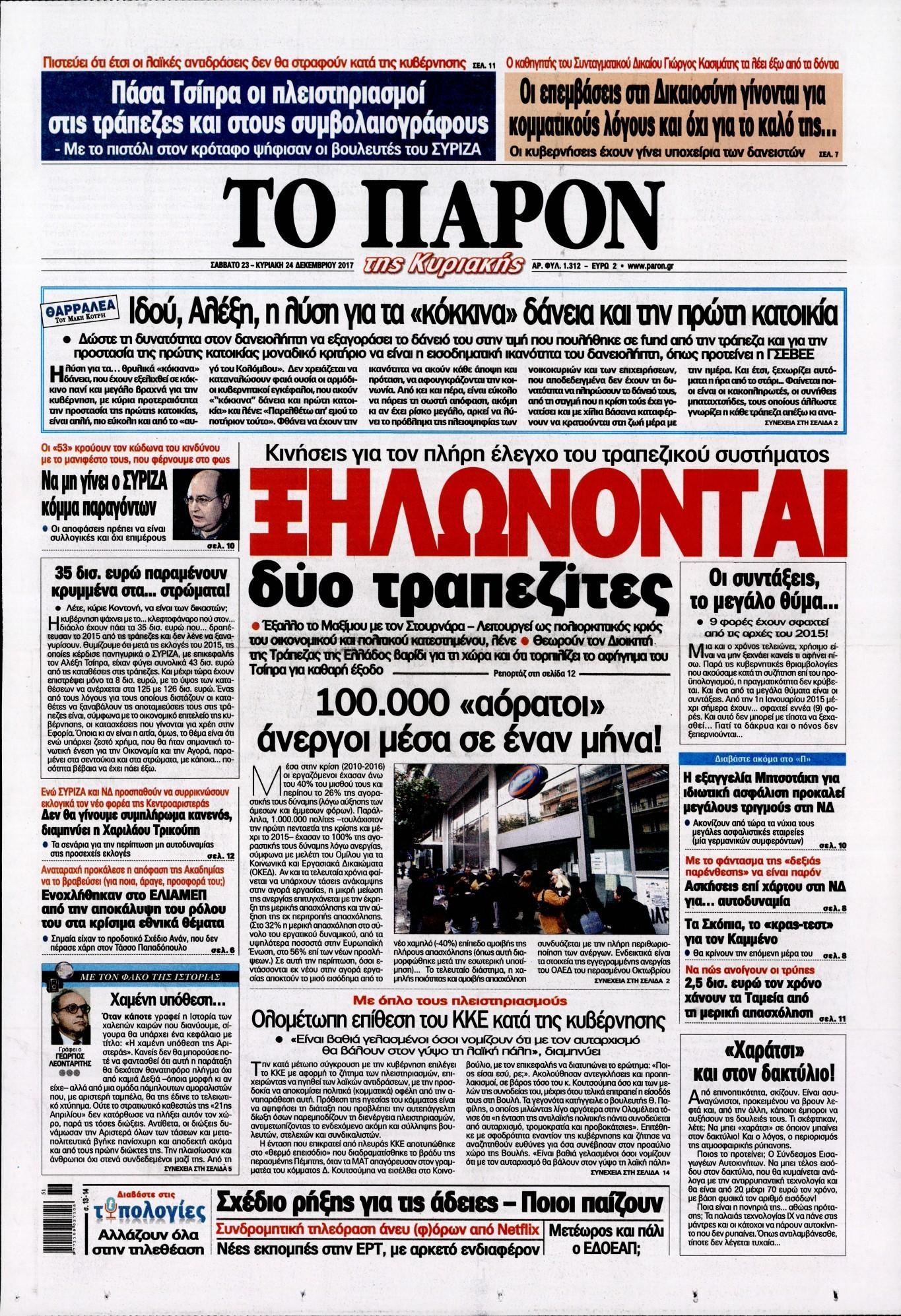 Πρωτοσέλιδο εφημερίδας Το Παρόν