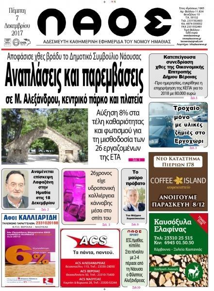 Πρωτοσέλιδο εφημερίδας Λαός Βέροιας
