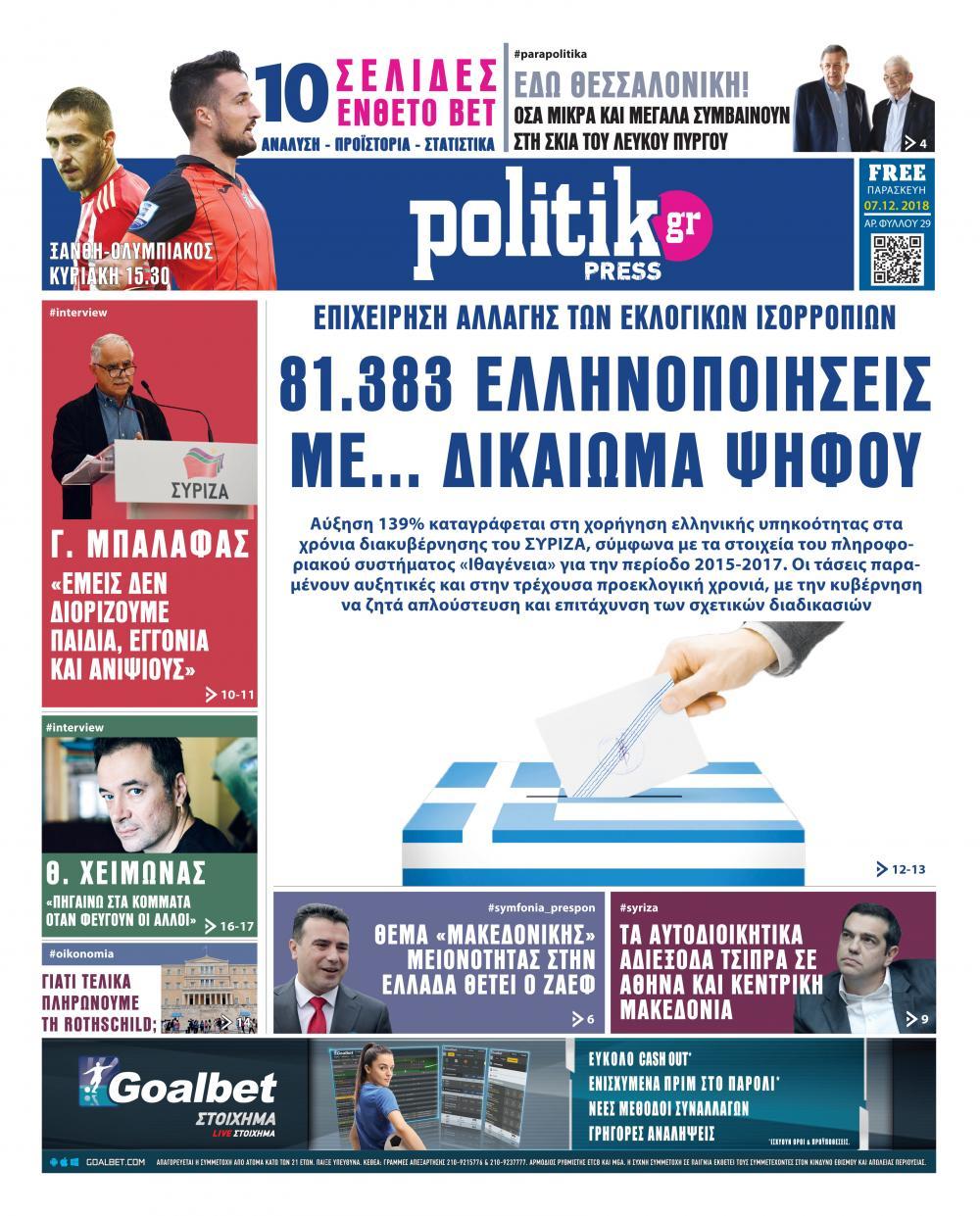 Πρωτοσέλιδο εφημερίδας Politik Press
