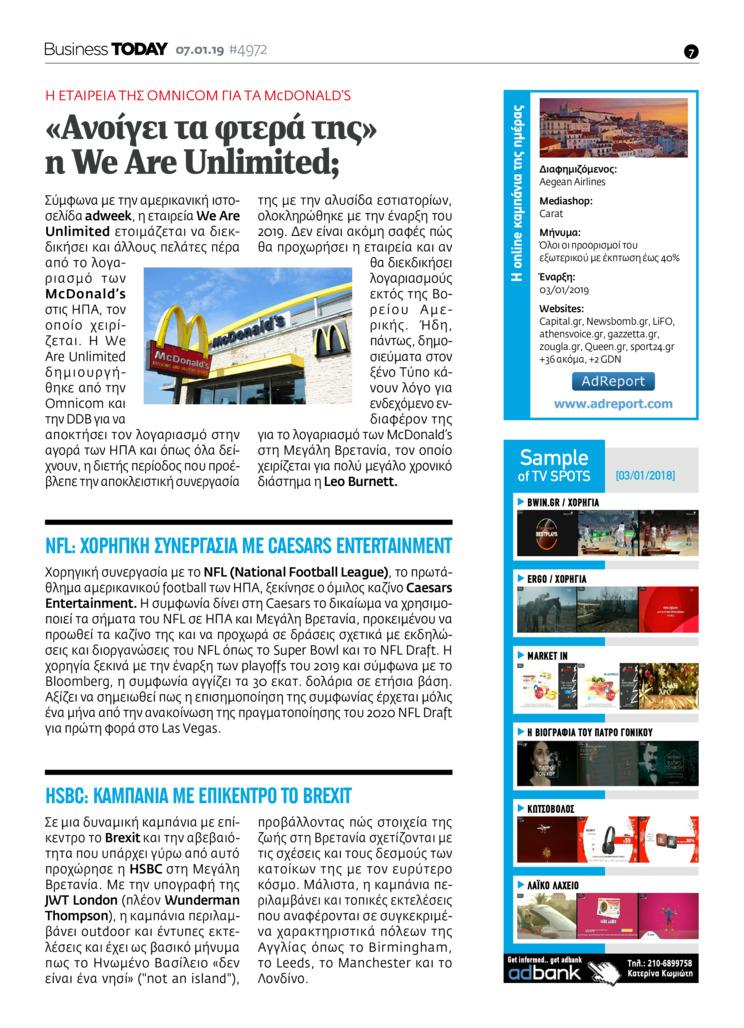 Οπισθόφυλλο εφημερίδας Business Today