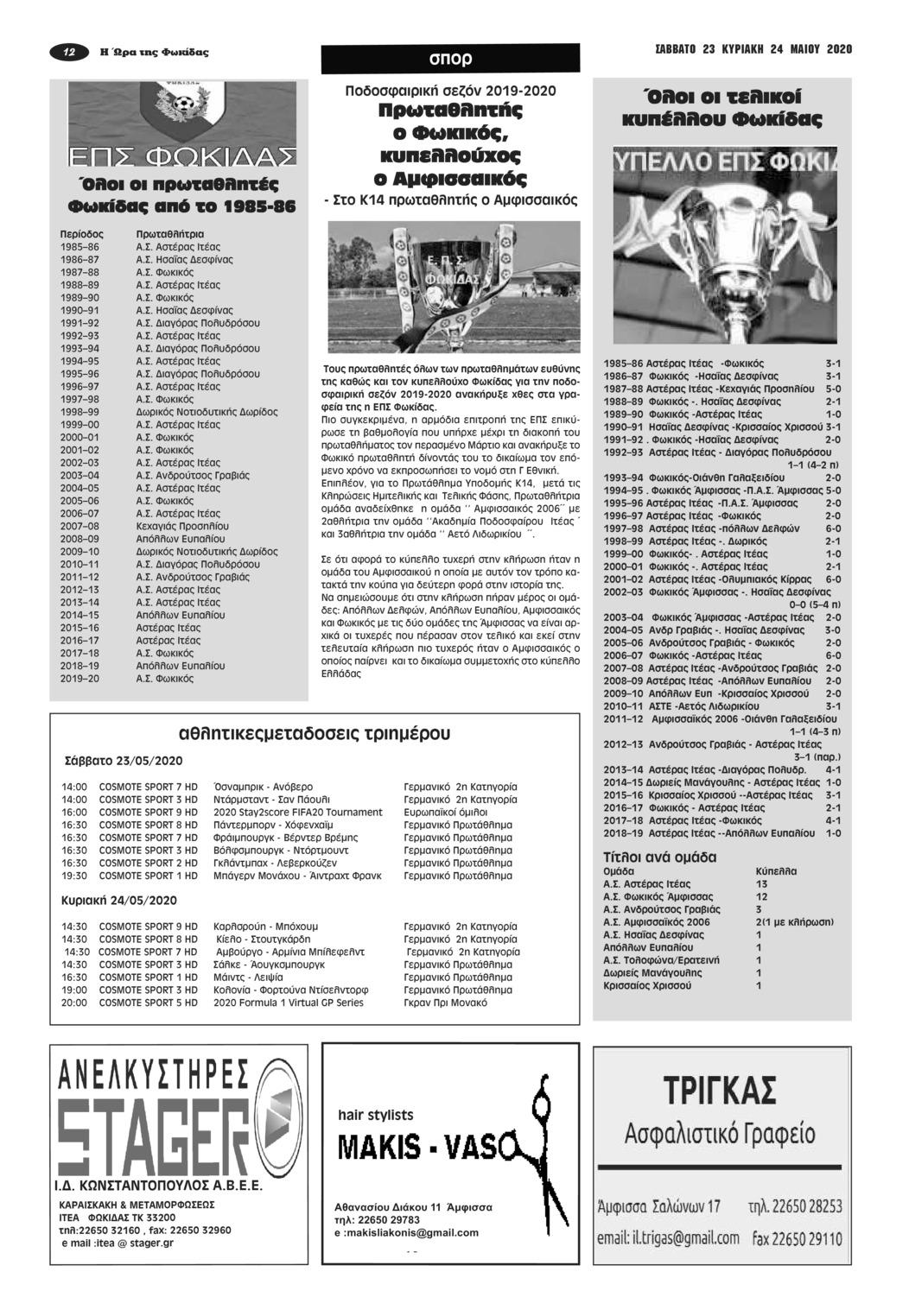 Οπισθόφυλλο εφημερίδας Η Ώρα της Φωκίδας